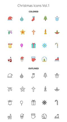 Free Christmas Color and Outline Icons Volume 1