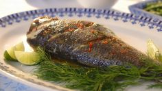 """Mary Berry served up tasty whole seabass with lime, dill butter sauce and picante peppers from a jar on Mary Berry's Foolproof Cooking. Mary says: """"Using lime and dill sharpens the flav… Dill Recipes, Spicy Recipes, Healthy Recipes, Shellfish Recipes, Seafood Recipes, Cooking Tv, Cooking Recipes, Butter Sauce, Recipes"""