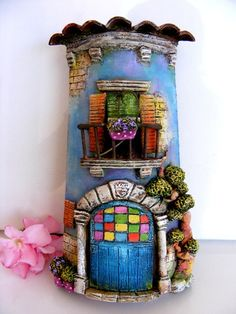 Maybe try using a pringles can and polymer clay - love the blobs! Polymer Clay Fairy, Fimo Clay, Polymer Clay Projects, Clay Crafts, Diy And Crafts, Arts And Crafts, Clay Houses, Ceramic Houses, Clay Fairy House