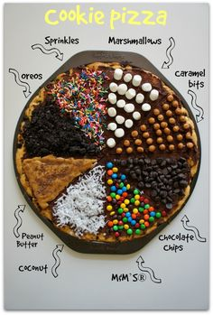 How to create the best chocolate chip cookie pizza for kids in less than 30 minutes! Plus: Our mega list of the best kid-tested cookie toppings for cookie pizza! Chocolate Chip Cookie Pizza, Brownie Pizza, Chocolate Pizza, Chocolate Butter, Chocolate Chips, Just Desserts, Delicious Desserts, Yummy Food, Pizza Dessert