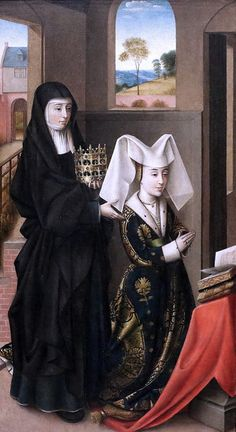 """""""Isabella Of Portugal With St. Elizabeth"""" - Petrus Christus Completion Date: Style: Northern Renaissance Genre: religious painting Technique: oil Material: panel Dimensions: 59 x 33 cm Gallery: Groeningemuseum, Bruges, Belgium Medieval Fashion, Medieval Clothing, Historical Clothing, Moda Medieval, Medieval Art, Medieval Life, Renaissance Paintings, Renaissance Art, 15th Century Fashion"""