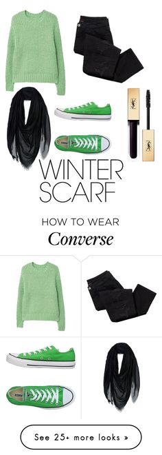 """""""Untitled #239"""" by cursedwriteratheart on Polyvore featuring MANGO, Avon, Versace, Converse, Yves Saint Laurent and winterscarf"""