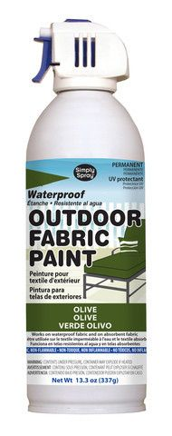 Simply Spray Outdoor Fabric Paint is a non-toxic, non-flammable aerosol paint for use on all absorbent and non-absorbent materials. Once applied, the paint absorbs in the fabrics or dries on top of ot