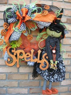 WITCH AND FAMOUS lime deco mesh wreath w/ by faucettandflame