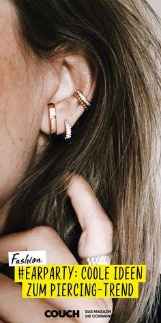 Wir feiern eine #earparty! Der Piercingtrend ist unser Must-have des Jahres! Verschiedene Ohrringe, Piercings und Ear Cuffs werden wie bei irismariella miteinander kombiniert. #piercing #helix #ohrringe #schmuck #COUCHstyle Trends, Ear Cuffs, Piercings, Diamond Earrings, Fashion Outfits, Helix Earrings, Schmuck, Nice Asses, Peircings