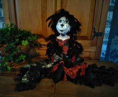 Santa Catrina - Doll - Day Of Death - Dia De Los Muertos - Halloween Doll - Handmade Doll - OOAK - Sugar Skull - Santa Muerte - Collectible by Rustiikkitupa on Etsy