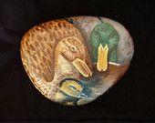 Original Hand Painting Mallard Duck Family River Rock, Custom Portrait / Art in Acrylics of Birds / Fine Art by karrinmelo on Etsy