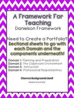 Danielson Framework Binder Sheets- 4 Domains- Chevron Background Teacher Portfolio, Portfolio Binder, Charlotte Danielson, T Tess, Danielson Framework, Teacher Observation, Teacher Evaluation, Creating A Portfolio, Instructional Coaching