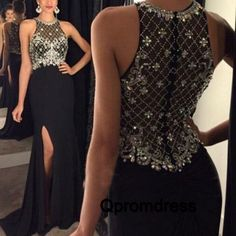Sparkly sequins top black chiffon long prom dress with slit,ball gown, modest…