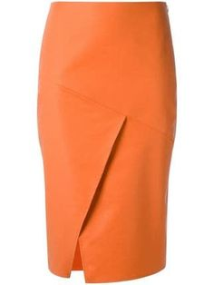 Orange panelled skirt from Andrea Marques featuring a side zip fastening and a side slit. Skirt Pants, Dress Skirt, Slit Skirt, Skirt Outfits, Cool Outfits, Kleidung Design, Orange Skirt, Orange Orange, Summer Work Outfits