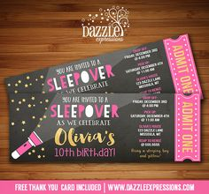 Printable Chalkboard Sleepover Ticket Birthday Invitation | Pink and Gold Ticket | Slumber Party | Under the Stars Movie Night Party | Camping | Glamping | Flashlight | Hotel Sleepover | Tween, Girls, Teenager | Gold Glitter | DIY | Digital File | Party Decorations Available | Signs | Cupcake Toppers | Water Bottle Labels | Favor Tags | Popcorn Box | Banner | Food Labels | www.dazzleexpressions.com