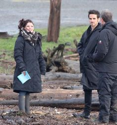 rehearsing a scene with Emilie de Ravin and we all found out Colin isn't as weather proof as we thought.