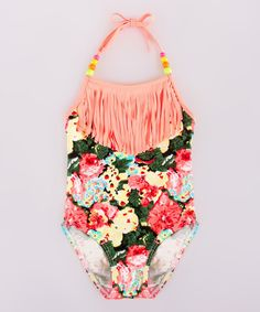 Look at this Mia Belle Baby Coral Floral One-Piece Bathing Suit - Toddler & Girls on #zulily today!