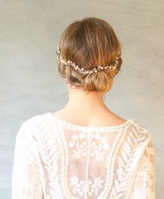 Wavy Silver Bridal Hair Vine. Wedding Hair von ElevenSkiesStudio