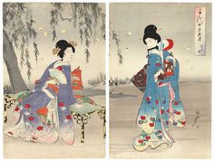 Japanese woodblock print by Chikanobu.  ukiyoe japan decoration antique fineart home decor collectible japanese woodblock print handmade home art beautiful decorative etching illustration traditional woodcut.