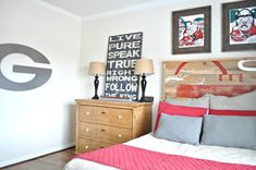 UGA themed boys bedroom! live pure signage, bulldog art, headboard, old chest & wire baskets (6th Street Design School | Kirsten Krason Interiors : Feature Friday: Between You and Me)