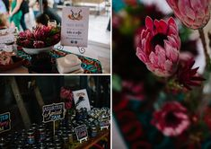 A bright and bold wedding filled with proudly South African touches like proteas, African print fabrics, strelizias, and the Joburg skyline! South African Weddings, Printing On Fabric, Table Decorations, Fabric Printing, Dinner Table Decorations, Center Pieces