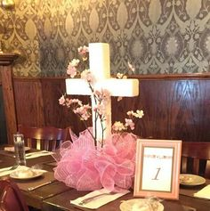 Religious Cross Centerpiece in Pink by CraftaholicWorkshop on Etsy