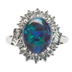 Contemporary Black Opal Diamond Platinum Ring | From a unique collection of vintage cocktail rings at https://www.1stdibs.com/jewelry/rings/cocktail-rings/