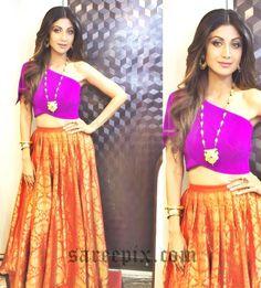 Ageless beauty Shilpa shetty in banaras silk lehenga, posted on Instagram. She looks gorgeous in Payal Khandwala lehenga with purple one-shoulder crop-top.