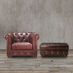 With classic lines and a gorgeous tufted back, this tufted brown leather chair and ottoman set, offers a cozy, elegant look. Finished with decorative nailhead trim that adds the perfect finishing touch, the classic style of this tufted chair fits any home style.