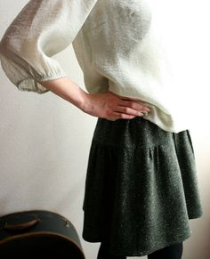 Modaspia floppy wool skirt - herringbone