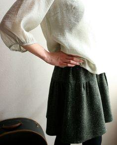 Modaspia floppy wool skirt - herringbone