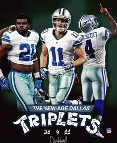 Poster: New-Age Dallas Triplets: Zeke, Dak, Beasley Dallas Cowboys Decor, Dallas Cowboys Wallpaper, Dallas Cowboys Pictures, Dallas Cowboys Football, Football Memes, Football Team, Football Stuff, Baseball, Cowboys Memes