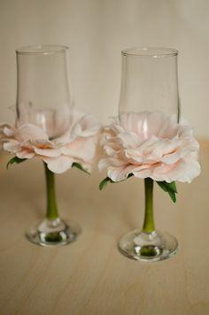 оформление бокалов цветами из фома