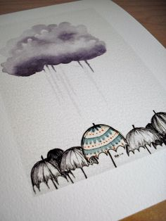 Umbrellas 4x6 Giclee Print by drawGabbydraw on Etsy