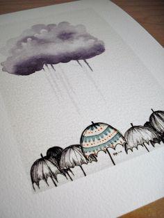 Umbrellas 4x6 Giclee Print by drawGabbydraw on Etsy