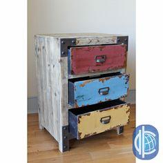 Aidans room- International Caravan Vintage Antique Multicolor Three-drawer Chest