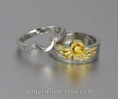 Sun and Moon ECLIPSE set in 18k &14k gold por WingedLion en Etsy