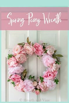 This tutorial shows you how to make a beautiful spring wreath to peonies in under an hour. Perfect for your spring home decor. #springwreath #diywreath #peony #springdecor