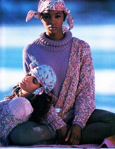 Dream Weaves, ELLE US, March 1987 Photographer: Gilles Bensimon Models: Stpehanie Seymour and Naomi Campbell