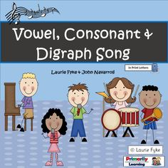 #FREE! #Literacy activity for kindergarten and grade one. Learn about consonants, vowels and digraphs with this quick-paced, interactive song, by John Navarroli!   Included, 1 mp3, a classroom chart and a page with teaching suggestions.  Have fun! Available in both PRINT Letters and SASSOON Infant Font.