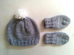 Hand Knit Newborn 0-6 Months Pom Pom Baby Hat by heatherrainbow