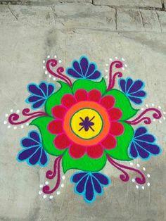 9 Dots Colour Kolam For Sankranthi Beautifull Lotus Rangoli Design