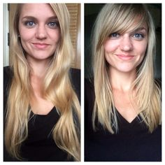 Long straight hair with bangs (before and after)