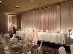 Champagne Bling Wedding #wedding #reception #vintage #lace #lachefs #decor #catering #headtable #backdrop #champagne #bling