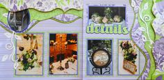 Wedding Scrapbook Page - Wedding Details - 2 page layout with Kiwi Lane and ivy vines - from Wedding Album 4