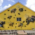 A London Street Artist Paints Swarms of Bees on Urban Walls to Raise Awareness of Colony Collapse Disorder