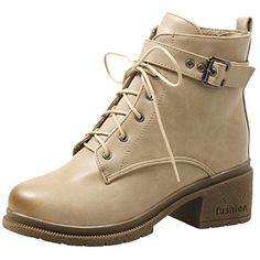 Women's Buckle Comfort Cold-Weather Lace Up Chukka Martin Boots