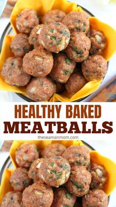 HEALTHY BAKED MEATBALLS RECIPE These easy to make and healthy baked meatballs are your foolproof, go to recipe, a much healthier alternative to the classic meatballs! You'll be making these over and over again! Healthy Baking, Easy Healthy Recipes, Easy Meals, Meat Appetizers, Appetizer Recipes, Delicious Appetizers, Dinner Recipes, Healthy Meatballs, Recipe For Turkey Meatballs