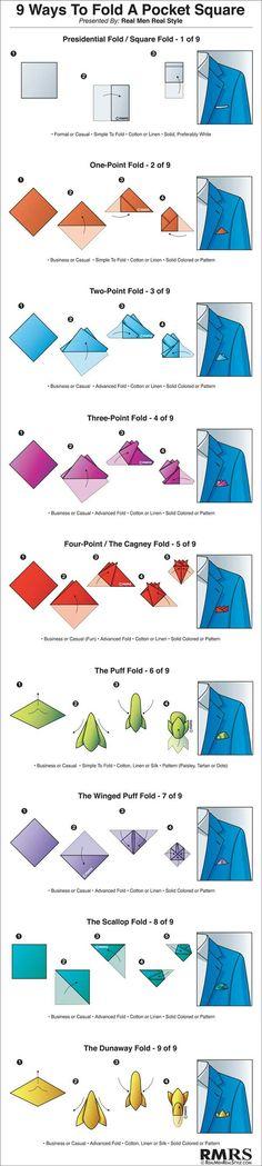 Ways to fold pocket square.