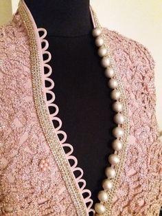 Velvet Pearl Bisht by Salwar Neck Designs, Neck Designs For Suits, Kurta Neck Design, Silk Saree Blouse Designs, Neckline Designs, Kurta Designs Women, Dress Neck Designs, Sleeve Designs, Embroidery Suits