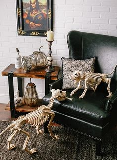 skeleton dogs are awesome plus the mercury glass pumpkins and skull candle holder halloween decorations wish list for sure