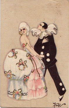 Art Deco pierrot postcard