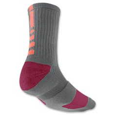 Nike Elite Basketball Crew Socks - Gray Raspberry Pink- Size L Nike Elite Socks, Nike Socks, Sport Socks, Socks World, Athletic Outfits, Athletic Clothes, Nike Under Armour, Basketball Socks, Living At Home
