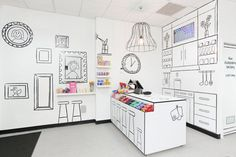 The Candy Room by Red Design Group \\\ A whimsical space with black & white, cartoon-like illustrations on the walls and furniture that allow the colorful candy to stand in the spotlight. The perfect platform for everyone's candy cravings.
